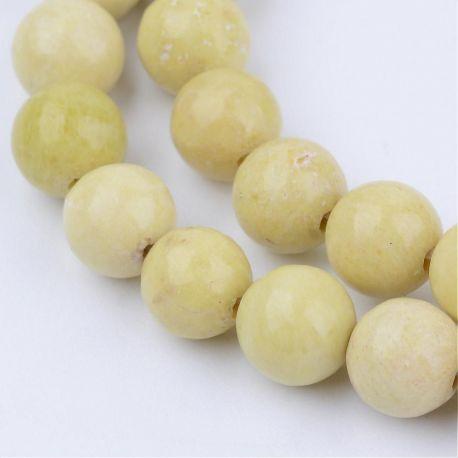 Natūralūs geltonojo jaspio karoliukai, žalsvai geltonos (citrinos) spalvos, perlams, vėriniams, apyrankėms, akmenėliams, karoliu