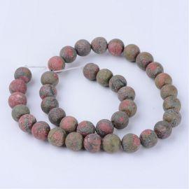 Natūralūs unakito karoliukai, žalios-rausvos spalvos, perlams, vėriniams, apyrankėms, akmenėliams, karoliukams verti, 10 mm dydž