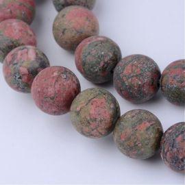 Natūralūs unakito karoliukai, 10 mm., 1 gija