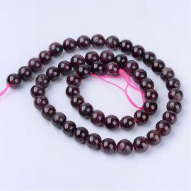 Natural Garnet beads, 8 mm., 1 strand