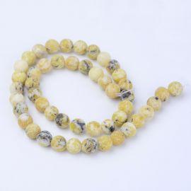 Natūralūs geltonojo turkio karoliukai, žaliai geltonos spalvos, perlams, vėriniams, apyrankėms, akmenėliams, karoliukams verti,