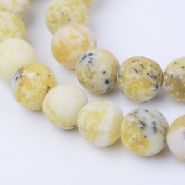 Natūralūs geltonojo turkio karoliukai, 8 mm., 1 gija
