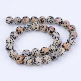 Natūralūs dalmatininio jaspio karoliukai, 8 mm., 1 gija