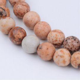 Natūralūs paveikslinio jaspio karoliukai, 8 mm., 1 gija
