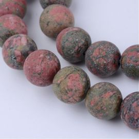 Natūralūs unakito karoliukai, 8-8,5 mm., 1 gija
