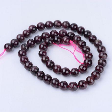 Natūralūs granato karoliukai, tamsiai vyšninės spalvos, perlams, vėriniams, apyrankėms, akmenėliams, karoliukams verti, 6 mm dyd