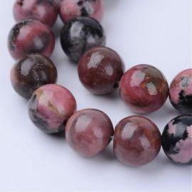 Natūralūs rhodonito karoliukai, juodos-rusvos spalvos, perlams, vėriniams, apyrankėms, akmenėliams, karoliukams verti, 6 mm dydž