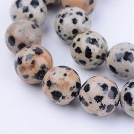 Natūralūs Dalmatininio jaspio karoliukai, 6 mm., 1 gija