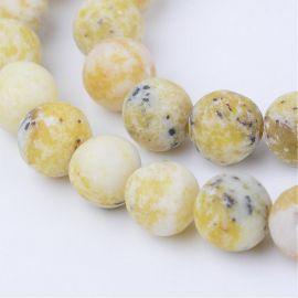 Natūralūs geltonojo turkio karoliukai, geltonos spalvos su juodos spalvos intarpais, perlams, vėriniams, apyrankėms, akmenėliams