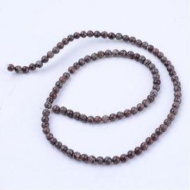 Natūralūs snieginio obsidiano karoliukai, rudos saplvos su baltos spalvos intarpais, perlams, vėriniams, apyrankėms, akmenėliams