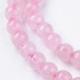 Natūralūs rožinio kvarco karoliukai, 6 mm., 1 gija