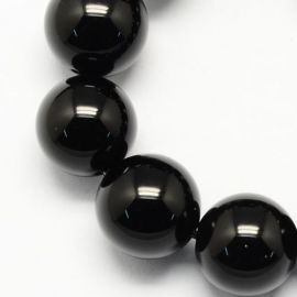 Natūralūs snieginio obsidiano karoliukai, 6 mm., 1 gija