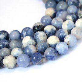 Natūralūs sodalito karoliukai, mėlynos-baltos spalvos, perlams, vėriniams, apyrankėms, akmenėliams, karoliukams verti, 8 mm dydž