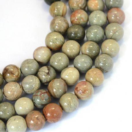 Natūralūs jaspio karoliukai . Žalsvos spalvos su pilkos spalvos juostelėmis, apvalios formos, kaina - 6,5 Eur už 1 gija