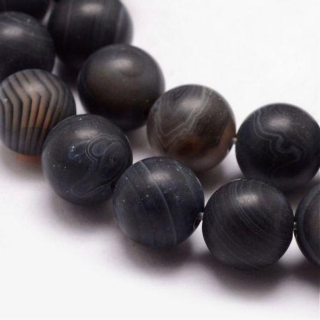 Natūralūs juostinio agato karoliukai, juodos-pilkos spalvos su baltos spalvos juostelėmis, perlams, vėriniams, apyrankėms, akmen