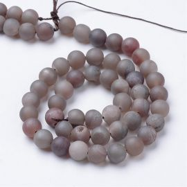 Agate druzy beads, 8 mm., 1 strand