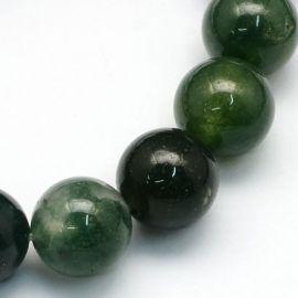 Natūralūs samaninio agato karoliukai, 10 mm., 1 gija