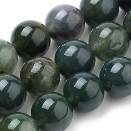 Natural Mossy Agate beads, 12 mm., 1 strand