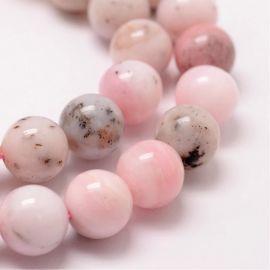 Natūralūs rausvojo opalo karoliukai, 10 mm., 1 gija
