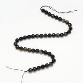 Natūralūs obsidiano karoliukai, juodos spalvos su žalsvu blizgesiu, perlams, vėriniams, apyrankėms, akmenėliams, karoliukams ver