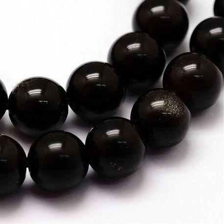 Natūralūs obsidiano karoliukai . Juodos spalvos su žalios spalvos blizgesiu, apvalios formos, kaina - 7,5 Eur už 1 gija