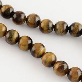 Natūralūs tigro akies karoliukai, rudos-geltonos spalvos, perlams, vėriniams, apyrankėms, akmenėliams, karoliukams verti, 8 mm d