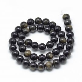 Natūralūs obsidiano karoliukai . Juodos spalvos su žalsvos spalvos blizgesiu, apvalios formos, kaina - 8,49 Eur už 1 gija