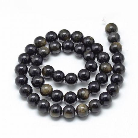 Natūralūs obsidiano karoliukai, juodos spalvos su žalsvos spalvos blizgesiu, perlams, vėriniams, apyrankėms, akmenėliams, karoli