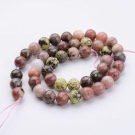Natūralūs akmeniniai karoliukai, rausvos-baltos-žalsvos spalvos, perlams, vėriniams, apyrankėms, akmenėliams, karoliukams verti,