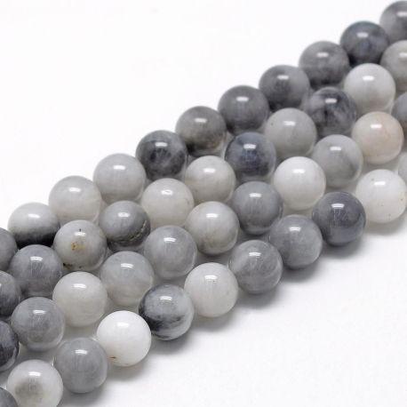 Natūralūs Hawk's Eye karoliukai, pilkos-baltos spalvos, perlams, vėriniams, apyrankėms, akmenėliams, karoliukams verti, 8 mm dyd