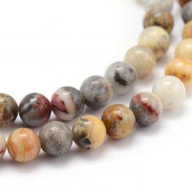 Natūralūs agato karoliukai, rudos-pilkos-rausvos spalvos, perlams, vėriniams, apyrankėms, akmenėliams, karoliukams verti, 8 mm d