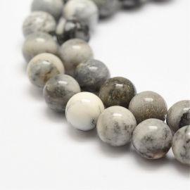 Natūralūs agato karoliukai, pilkos-baltos spalvos, perlams, vėriniams, apyrankėms, akmenėliams, karoliukams verti, 8 mm dydžio,