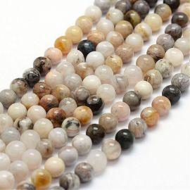 Natūralūs bambukinio agato karoliukai, baltos-pilkos-rusvos spalvos, perlams, vėriniams, apyrankėms, akmenėliams, karoliukams ve
