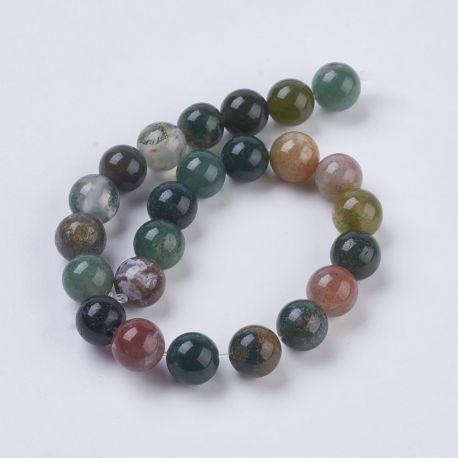 Natūralūs Indijos agato karoliukai, žalios-rusvos-pilkos spalvos, perlams, vėriniams, apyrankėms, akmenėliams, karoliukams verti