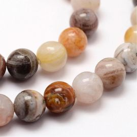 Natūralūs bambukinio agato karoliukai, pilkos-baltos-rusvos spalvos, perlams, vėriniams, apyrankėms, akmenėliams, karoliukams ve