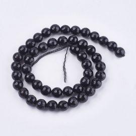 Agato karoliukai, juodos spalvos, perlams, vėriniams, apyrankėms, akmenėliams, karoliukams verti, 8 mm dydžio, 1 gija