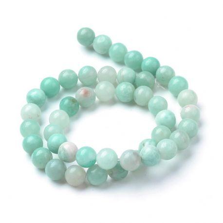 Natūralūs amazonito karoliukai, žalsvos spalvos, perlams, vėriniams, apyrankėms, akmenėliams, karoliukams verti, 8 mm dydžio, 1