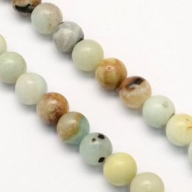 Natural Amazonite beads, 6 mm., 1 thread
