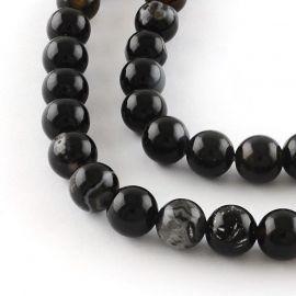 Agato karoliukai, juodos spalvos, perlams, vėriniams, apyrankėms, akmenėliams, karoliukams verti, 6 mm dydžio, 1 gija
