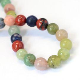 Stone bead mix, 8 mm., 1 thread