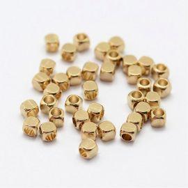 Intarpas, aukso spalvos, perlams, vėriniams, apyrankėms, akmenėliams, karoliukams verti, 3x3 mm dydžio, 1 maišelis