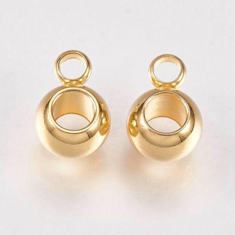 Nerūdijančio plieno 304 pakabuko laikiklis, aukso spalvos, perlams, vėriniams, apyrankėms, akmenėliams, karoliukams verti, 8,5x6