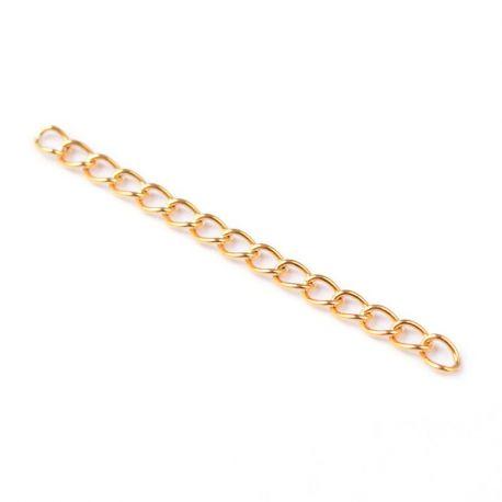 Nerūdijančio plieno 304 prailginimo grandinėlė, aukso spalvos, perlams, vėriniams, apyrankėms, akmenėliams, karoliukams verti, 4
