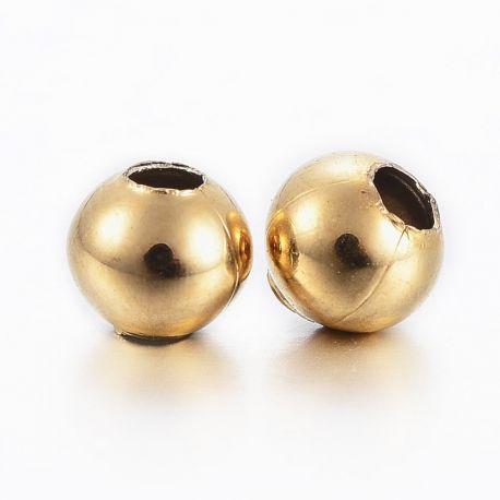 Nerūdijančio plieno 304 intarpas, aukso spalvos, perlams, vėriniams, apyrankėms, akmenėliams, karoliukams verti, 4x3,5 mm dydžio