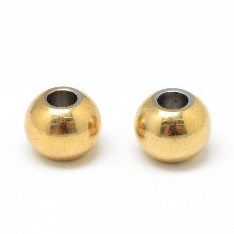Nerūdijančio plieno 304 intarpas, aukso spalvos, perlams, vėriniams, apyrankėms, akmenėliams, karoliukams verti, 3x2 mm dydžio,