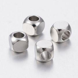 Nerūdijančio plieno 304 intarpas, nikelio spalvos, perlams, vėriniams, apyrankėms, akmenėliams, karoliukams verti, 5x5x5 mm dydž