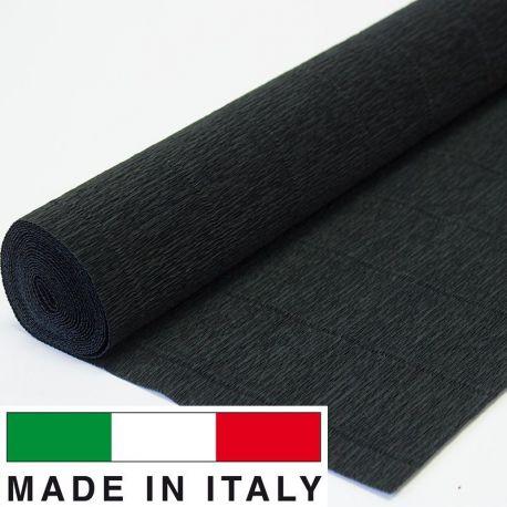 Itališkas krepinis popierius, juodos spalvos, 2.50 x 0.50 m.