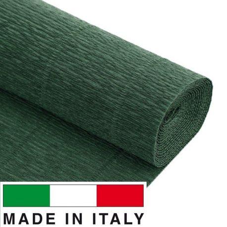 560 Cartotecnica Rossi gofruotas floristinis krepinis popierius, skirtas rankdarbiams, įpakavimams. Tamsiai žalios spalvos, kai