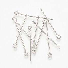 Nerūdijančio plieno 304 head pins, 40x0,7 mm., ~100 pc. 1 bag