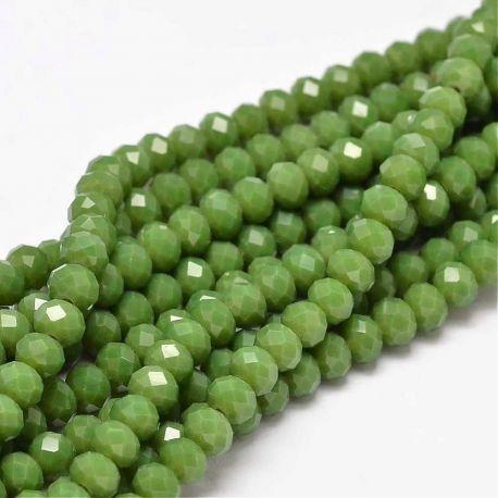 Stikliniai karoliukai . Žalios (samanų) spalvos su blizgesiu, rondelės formos, kaina - 1,6 Eur už 1 gija